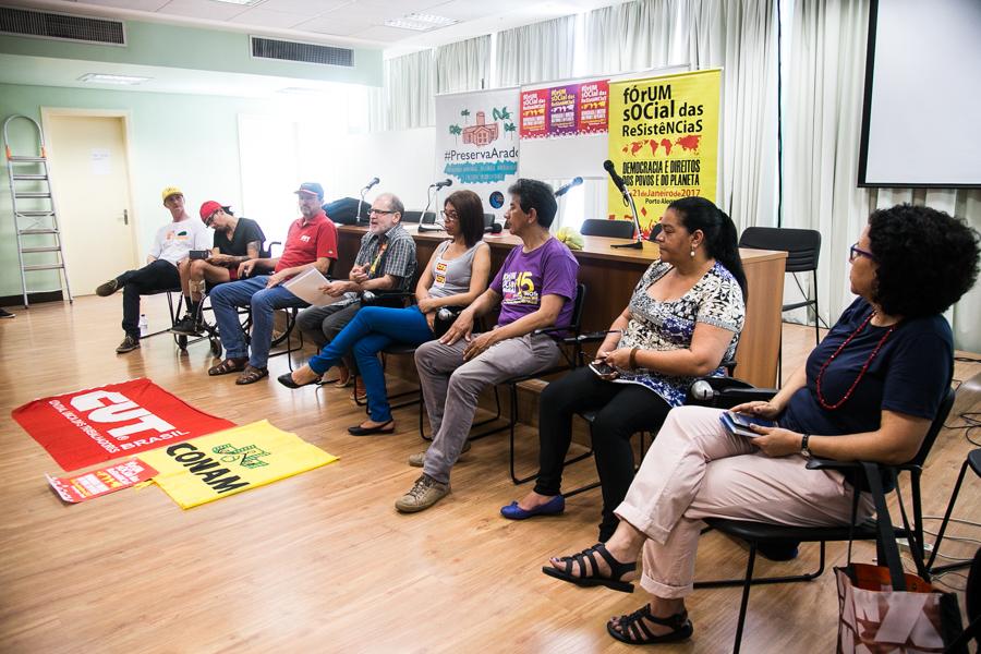 Coletiva de imprensa com organização do Fórum Social das Resistências.  Foto: Maia Rubim/Sul21